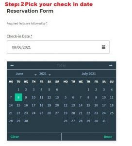 PIck your check in date
